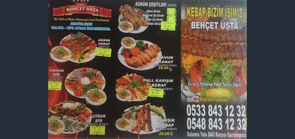 The menu shows very good value for money